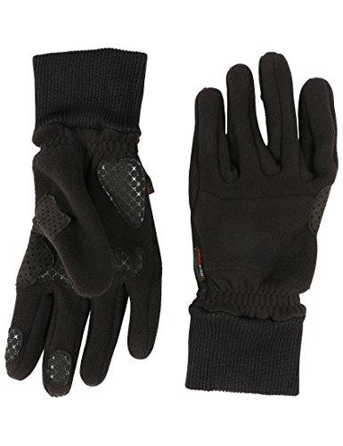 Ultrasport Basic Guantes polares de invierno Cozy para hombre y mujer, con zonas de agarre para montar en bicicleta y realizar otras actividades al aire libre, negro, M