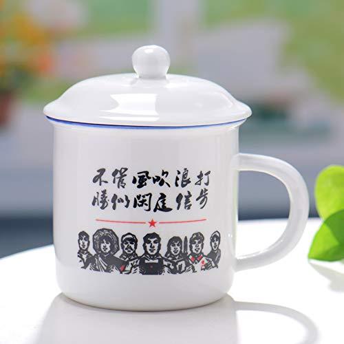 Taza de preservación de calor Nostálgica taza de agua creativa taza simple con taza tapada 400ml E