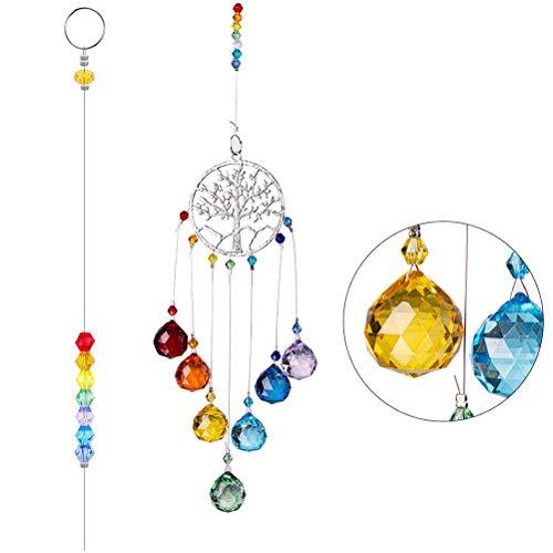 Yumira Farbe Glas Kristallkugel Prismen Sonnenfänger, Kristall Regenbogen Sonnenfänger Fenster hängen Ornament Crystal Garden Anhänger