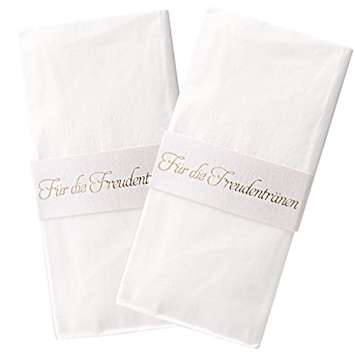 Lywedd® Taschentuchhalter Lisbeth 40 Stück - Taschentuchhalter mit Schriftprägung Für die Freudentränen in Gold zur Hochzeit