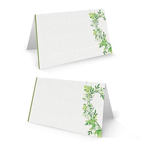 Logbuch-Verlag - Cartel para nombre, tarjeta para mesa, color blanco y verde, para bodas, cumpleaños, comunión, celebraciones, tarjeta de sitios, decoración de mesa, para escribir