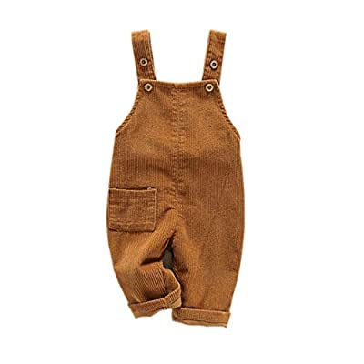 Mornyray Toddler Boy Girl Soft Corduroy Suspender Pants Kids Overalls Loose Retro Size 2-3T (Khaki)