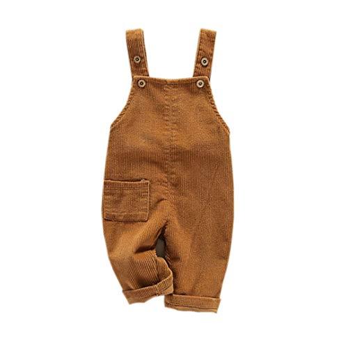 Fairy Baby Kleinkind Kinder Latzhose Kabel Overall Jungen Straps Hose Retro Size 100(2-3 Jahre) (Khaki)