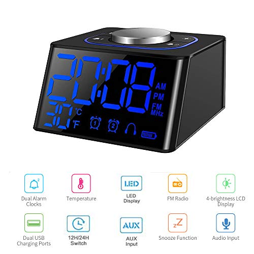 Radio Reloj Despertador,Radio FM Digital Pantalla LCD Regulable y Termómetro de Interior, Función Snooze, Dual Puerto de Carga USB para teléfonos Inteligentes y tabletas,12/24 Horas