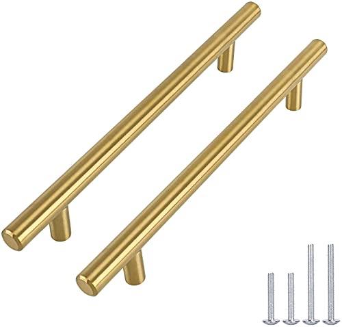 Tirador de puerta para muebles, armarios de cocina o puertas en forma de T de Goldenwarm de acero inoxidable, color dorado