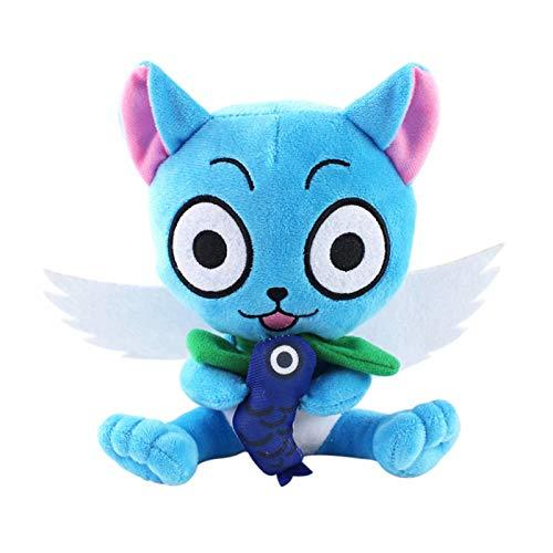 Fairy Tail Happy Muñeco de Peluche Personajes de Anime Japonés Socio de Natsu Happy Figura de Peluche Lindo Gato Azul Mágico Alado Juguete de Peluche Almohada Cojín para Decoración Colección Regalo