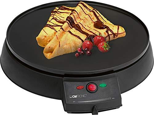 Clatronic CM 3372 Máquina de hacer crepes, tortitas, tortillas, plato 29 cm, Negro