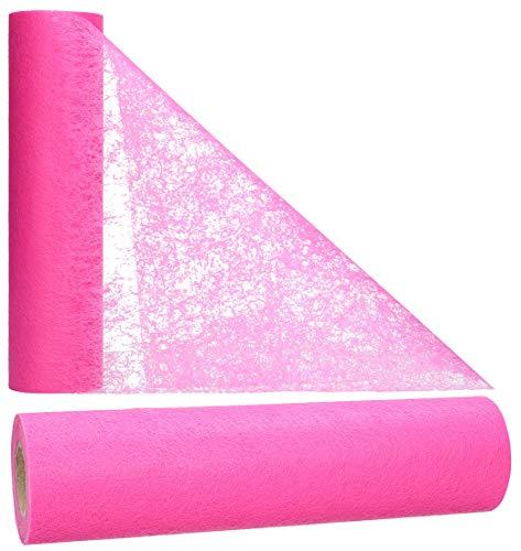 AmaCasa Vlies Tischläufer 30cm/25 Meter Tischband Hochzeit Kommunion (30cm, Pink)