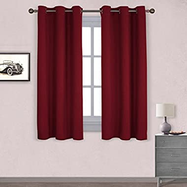 NICETOWN Thermal Insulated Solid Grommet Blackout Curtains/Drapes for Livingroom (One Pair,42 by 63-Inch,Burgundy Red)