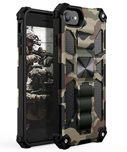 YVPro iPhone 8 Hülle iPhone 7 Hülle iPhone 6 Hülle iPhone 6s Hülle iPhone SE 2020 Hülle Mann Junge Military Stabiler Kickstand Stoßfest Schutzhülle Camo Cover Camouflage
