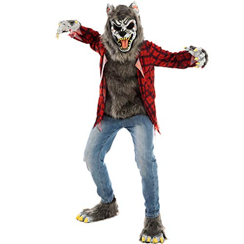 Spooktacular Creations Red Werewolf Halloween Kids Costume with Mask, Gloves and Shoes (Medium ( 8- 10 yrs))
