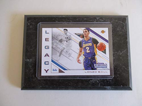 LONZO BALL UCLA/LOS ANGELES LAKERS PANINI CONTENDERS NBA 2018'LEGACY' DRAFT PICKS (PURPLE JERSEY) PLAYER CARD MOUNTED ON A 4' X 6' BLACK MARBLE PLAQUE