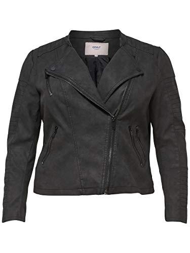 ONLY Carmakoma Damen Caravana Faux Leather Biker Ess Jacke, Schwarz (Black Black), 48