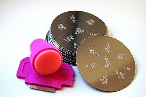 25 x Nailart Nail Art Stamping Metallplatten Schablonen Fingernagel mit Stamp & Scraper Tool