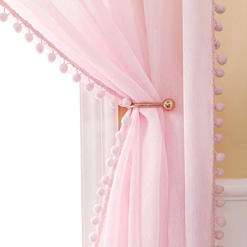 MIULEE 2er Set Vorhang Sheer mit Ösen Transparente mit Pompons Gardine aus Voile Polyester Ösenvorhang Transparent Wohnzimmer Luftig Dekoschal für Schlafzimmer 140 x 260cm (B x H) Rosa