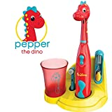 Brusheez Kid's Electric Toothbrush Set - Pepper the Dino - Includes Battery-Powered Toothbrush, 2 Brush Heads,...