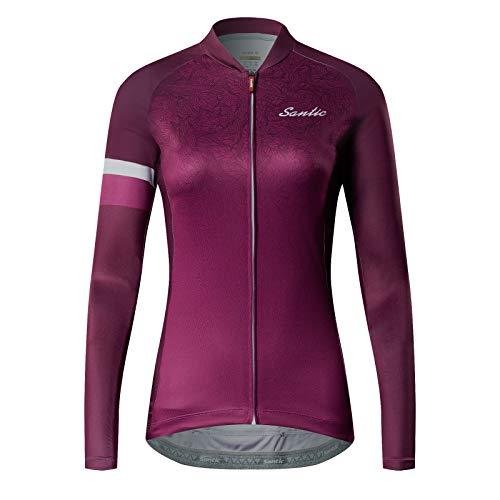 Santic Radtrikot Damen Lange Fahrradtrikot Damen Fahrradshirt Radshirt Kurzarm Sommer mit Taschen Violett EU L