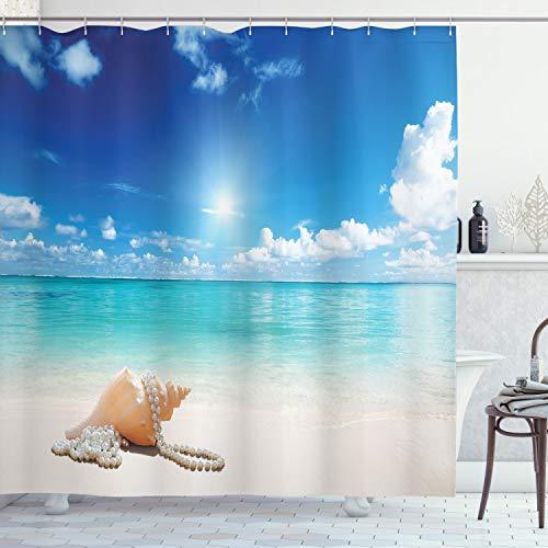 Ambesonne Seashells Shower Curtain, Seashells and Pearls on Sandy Beach Tropical Ocean Dreamiest Coastal Charm, Cloth Fabric Bathroom Decor Set with Hooks, 70' Long, Turquoise Cream