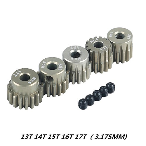 Crazepony-UK M0.6 3.175mm 13T 14T 15T 16T 17T 0.6 Module Pinion Motor Gear for 1/8 1/10 RC Off-Road Buggy Monster Truck Brushed Brushless Motor
