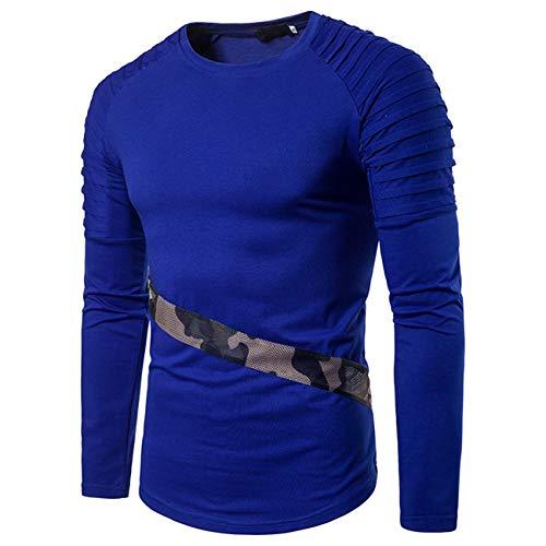 Herren Stitching Farbe Lange Ärmel Freizeit und Mode Shirt(L,blau)