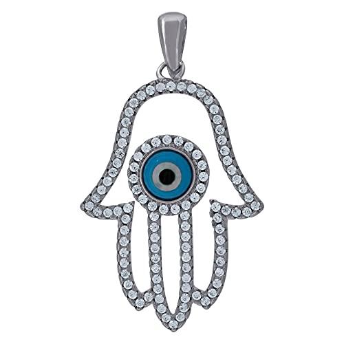 Collar con colgante de plata de ley 925 con circonita cúbica y diamantes de imitación de humsa y mal de ojo religioso para hombre