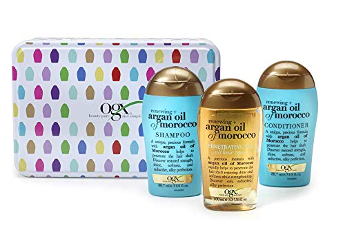 OGX Argan Oil of Morocco Gift Tin with Shampoo, Conditioner and Hair Oil