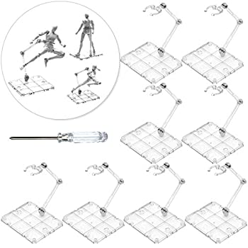 XISTEST Action Figure Stand 8 PCS Assembly Action Figure Display Holder Base Doll Model Support Stand Compatible with HG RG SD SHF Gundam 1/144 Toy with Screwdriver Transparent