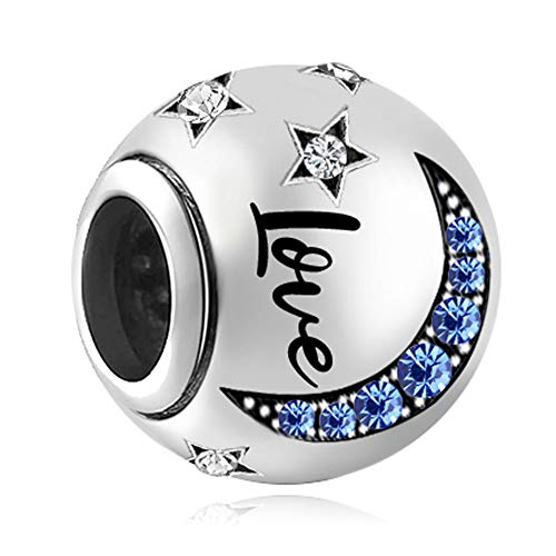 Sug Jasmin Love You to The Moon and Back Dangle Charms Crystal Beads for European Charm Bracelets