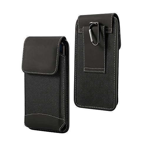 DFV mobile - Funda Cinturon Vertical con Nuevo Diseño en Piel y Nylon para BQ AQUARIS U Plus - Negra
