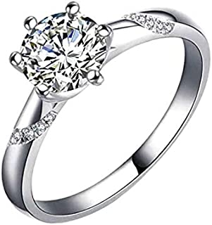 Splendente Fashion Ring Imitation Jewelry Artificial Diamond- with Solitaire with Side Stones 6 Prong Design Adjustable Ri...