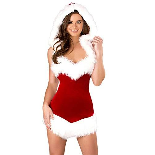 Vestito natalizio da donna in velluto rosso elasticizzato senza spalline, vestito da Babbo Natale, vestito sexy da scena con cappuccio, taglia unica per la maggior parte delle donne
