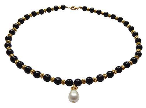 Kette Collier Onyx-Steine schwarz Süßwasser-Perle weiß Perlen-Kette Silber vergoldet Handarbeit Unikat Italien Antik-Look Vintage Retro Geschenk hochwertig