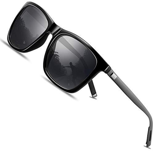 FEIDU Retro Polarisierte Damen Sonnenbrille- Herren Sonnenbrille Outdoor UV400 Brille,Farblinse, Strandreisen unerlässlich für Fahren Angeln Reisen FD 0628 (ZZ-Schwarz/gun, 60)