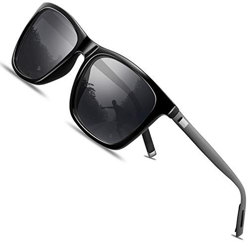 FEIDU Retro Polarisierte Damen Sonnenbrille- Herren Sonnenbrille Outdoor UV400 Brille,Farblinse, Strandreisen unerlässlich für Fahren Angeln Reisen(ZZ-Schwarz / Gun, 56)