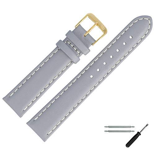 MARBURGER Uhrenarmband 20mm Leder Grau Glatt - Werkzeug Montage Set 8062015000220