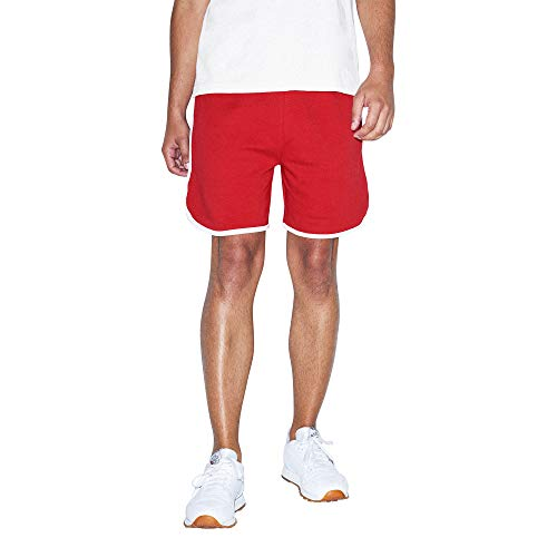 American Apparel Men's Interlock Basketball Shorts, Red/White, X-Large
