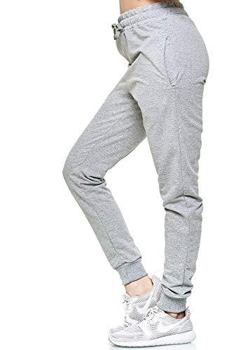 L.gonline Damen Jogginghose | Uni Colour Design 5000 | Trainingshose | Homewear | Fitness | Sport | Freizeit | Yoga | Wellness | 3XL, Grau