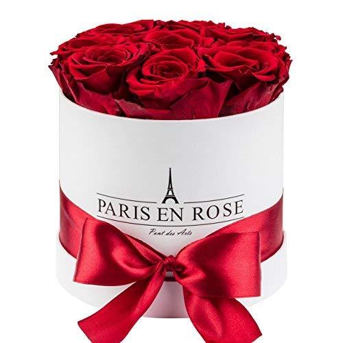 PARIS EN ROSE Rosenbox (Flowerbox) Pont-des-Arts mit 8-9 konservierten Infinity Rosen (Weis-Bordeauxrot)