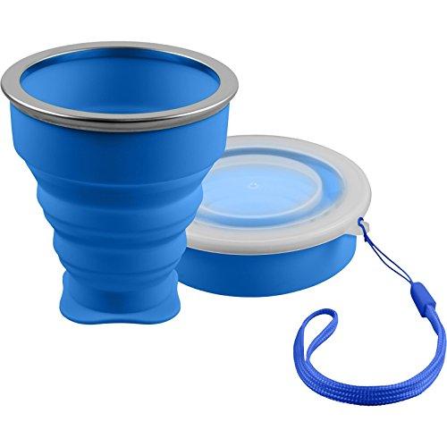 shibby Faltbarer Silikon-Becher in blau, praktische Reisetasse Camping Trinkbecher – 210ml, 60014336