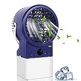 Winload Mini Enfriador de Aire, Personal Enfriador Climatizador Portátil, Movil Mini Ventilador Humidificador Purificador de Aire 3 Velocidades, Air Cooler Portatil para Casa Oficina - 7 Colores LED