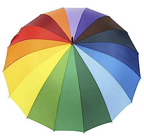 Regenschirm, XL Schirm, Stockschirm, Regenbogenfarben, 24 Segmentfelder