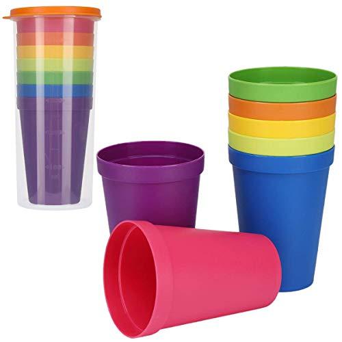Wiederverwendbare Kunststoffbecher, 7 Stück mehrfarbig stapelbare Wassergläser für Zuhause, Party, Event, Hochzeit, 200 ml