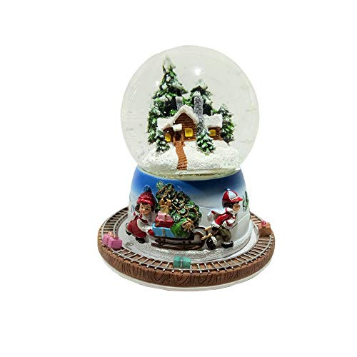 Lightahead Musical Christmas Scene Water Ball Snow Globe in 100 mm with The Inside Figurine and Outside Train Revolving