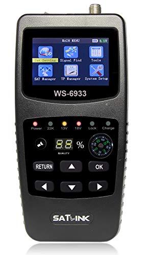 MeterTo Digital LCD Satellite Finder Compass Satellite Meter Detector WS-6933 DVB-S/S2 Compliant Terrestrial Signal Meter Receiver 950~2150MHz -65~-25dBm DISEQC 1.0/1.1,0/22khz USB