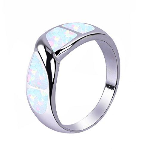 KELITCH 925 Silber Überzogen Weiß Opal Spiral Entworfen Ring Zum Frau Mädchen - Größe LM