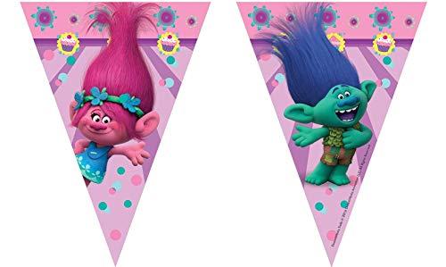 Trolls - Guirnalda, 9 banderines, 2.3 m (Procos 6887022) , color/modelo surtido