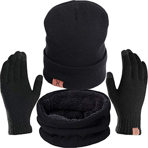 T WILKER 3 Pieces Knitted Hat Set Winter Thick Warm Snug Knit Hat + Scarf + Touch Screen Gloves for Men Women