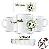 Kinder-Tasse mit Fußball Motiv und Name/Tasse für Kinder mit Name/Fussball/Farbwahl Tasse + Schriftwahl für Name + Keramik oder Kunststofftasse