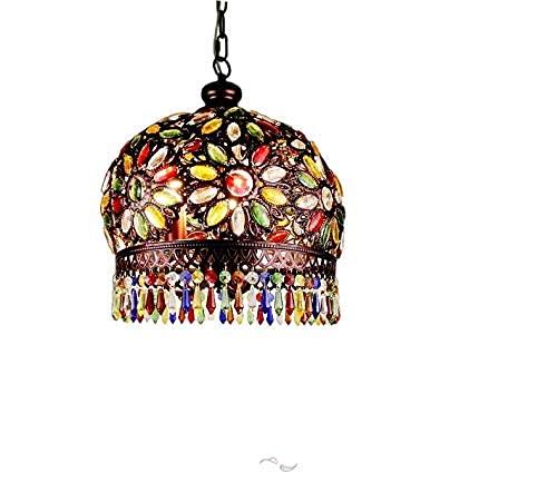 DALUXE 13 Pulgadas Bohemia marroquí Colgante Luz Landelier Multicolor Turco Tiffany Shade Sala Salón Comedor Comedor Decoración Cocina Suspensión