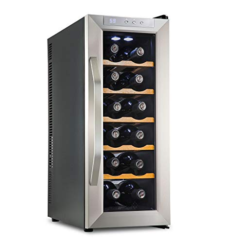 Ivation Premium Stainless Steel 12 Bottle Thermoelectric Wine Cooler/Chiller Counter Top Red & White Wine Cellar w/Digital Temperature, Freestanding Refrigerator Glass Door Quiet Operation Fridge